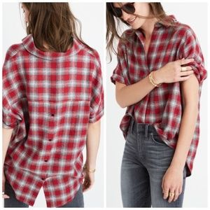 Madewell Courier Button-Back Shirt Fairfax Plaid